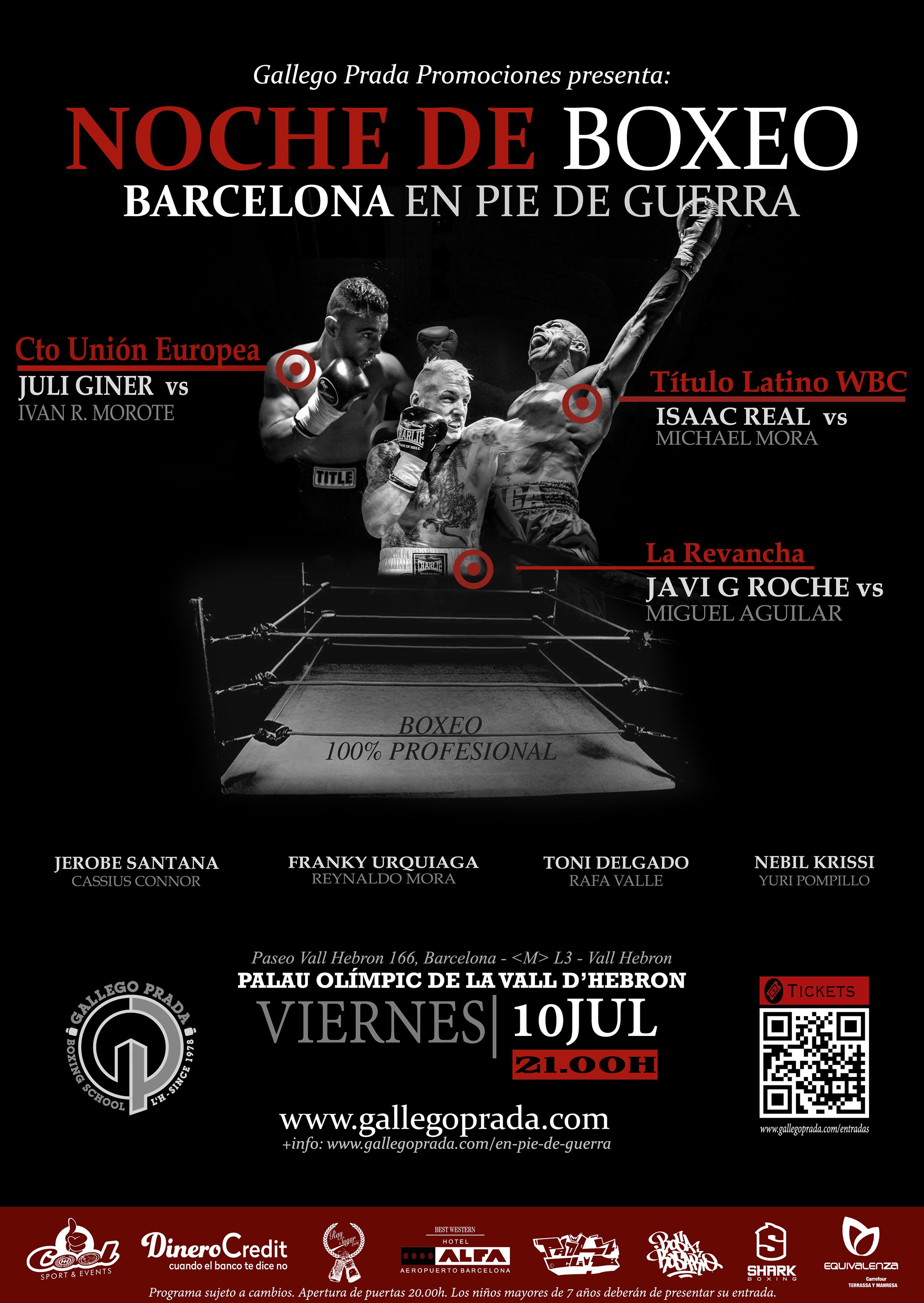 Cartel oficial de la velada de boxeo Barcelona en pie de guerra