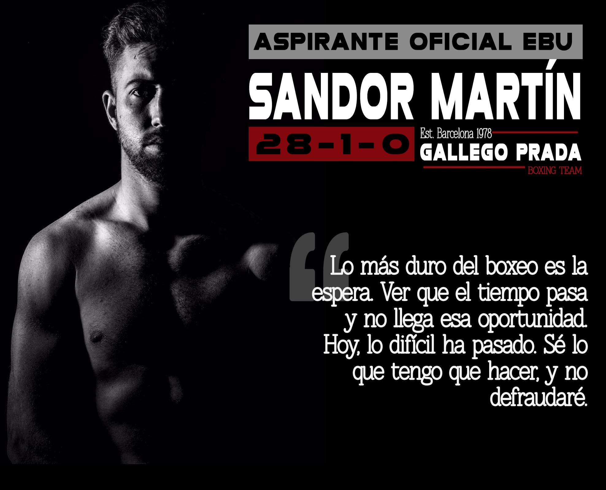 Sandor Martín aspirante oficial al EBU Gallego Prada boxeo Barcelona